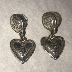 Brighton Silver Heart Dangle Pierced Earrings